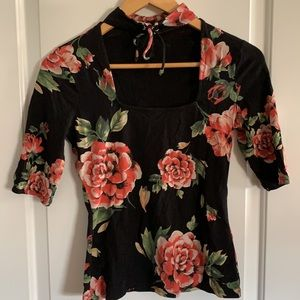 Guess Floral Red Rose Top